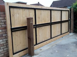 plain solid sliding gate-rear view