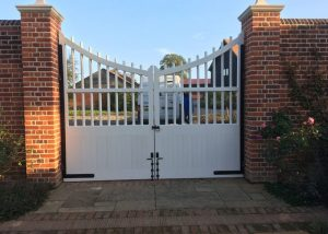 custom hardwood painted gates with custom hinges