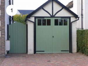 Garage doors with glazed section 1